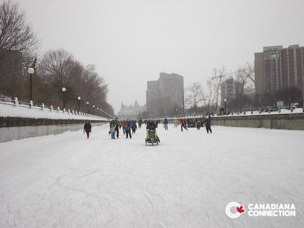 Skaters on the Rideau Canal in Ottawa Canada