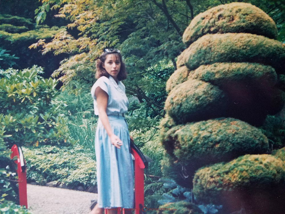 Pat at Butchart Gardens in 1987