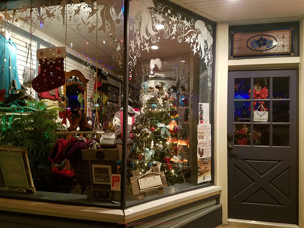 Ladysmith Store Window Decorated for Christmas