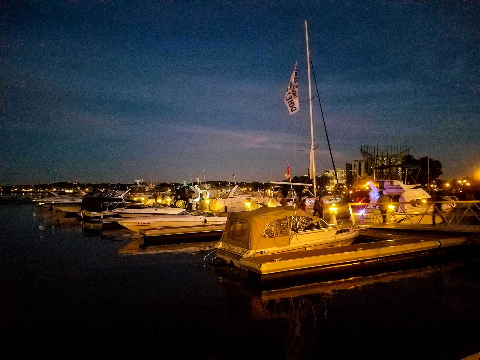 City of Barrie Marina at night